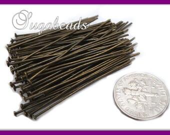 100 Antiqued Brass Head Pins 50mm 2 inch long 2mm head