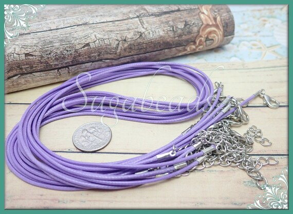 10 Necklace cords Purple 1.5mm faux leather 19 in adjustable lobster clasps M152