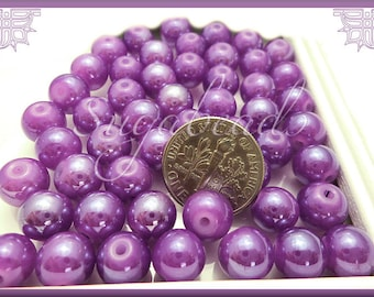 50 Purple Glass Beads 8mm