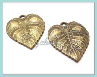 4 Antiqued Brass Leaf Charms 26mm x 22mm PB13