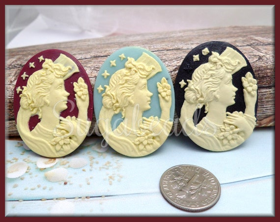 Resin Victorian Lady Oval 3D Cabochon Cameo Setting 30mm x 40mm