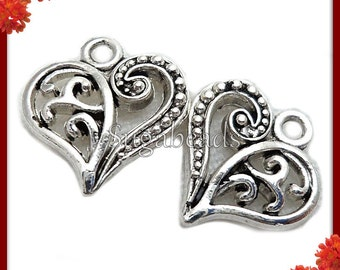 20 Antiqued Silver Heart Charms 14mm x 13mm PS38