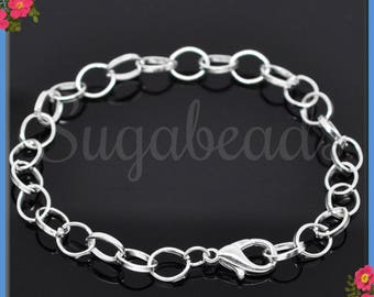 4 Silver Bracelet Chains - Oval Link Bracelets with Lobster Clasp 8 Inch SB01