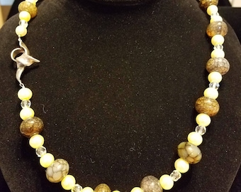 """REDUCED - Moss Agate, Glass Pearl and Crystal 21"""" Necklace"""