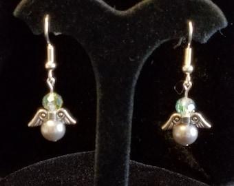 Silver, AB Crystal, and Grey Pearl Angel Earrings