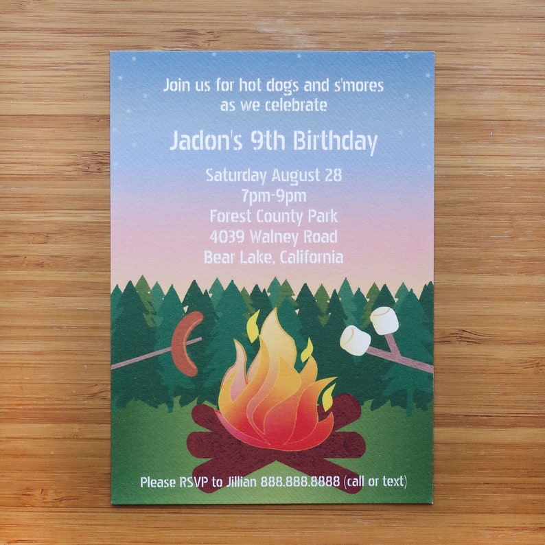 Campfire Bonfire Birthday Party Invitation - Digital Printable PDF JPEG -  Summer Backyard Campout - Great for Older Kids and Adults