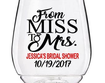 bridal shower wine glass decals from miss to mrs wedding wine glass decals personalized bridal shower decals glasses not included