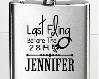 Flask Decals, Last Fling Before the Ring Decal, Personalized Bachelorette Party Flask Decal, Flask NOT Included
