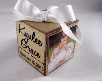 Baby's First Christmas Ornament, Personalized Photo Block Ornament Keepsake, Photo Ornament In Gold Shimmer