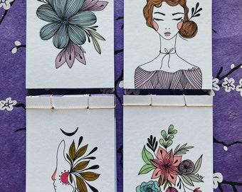 Little illustrated handmade blank notebooks