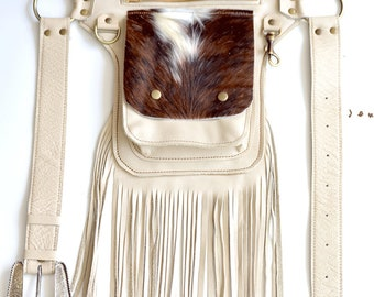 Hair on Hide Fringe Belt Bag, Western Hip Belt, Belt Bag,fringe Belt Bag, fringe festival bag, Hip Bag, waist bag, cross body bag