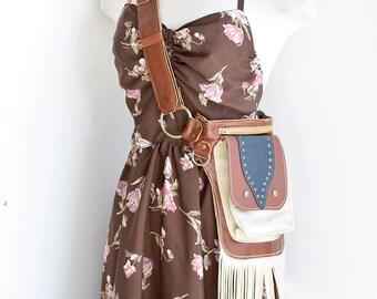 Leather Fringe Belt Bag, Western Hip Belt, Belt Bag,fringe Belt Bag, fringe festival bag, Hip Bag, waist bag, cross body bag