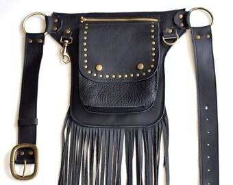 Black Leather Fringe Belt Bag, Western Hip Belt, Belt Bag,fringe Belt Bag, fringe festival bag, Hip Bag, waist bag, cross body bag