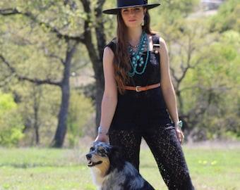 Black Lace Overalls, Lace Bells, Bohemian overalls, Lace Jumpsuit, Lace Romper, festival fashion, coachella fashion, lace bell bottoms