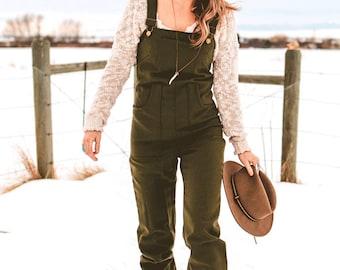 Wool Overalls Lightweight Green Wool, Wool Dungarees, Wool Jumper, Warm Overalls