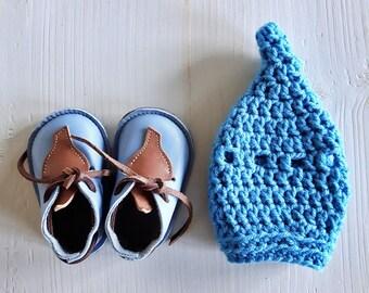 IMP Baby Shoe, 9-12m #powder blue / chocolate leather