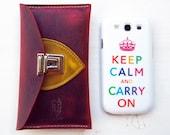SWIPE in Plum Elephant, Mustard, Handmade leather smart phone case by Fairysteps