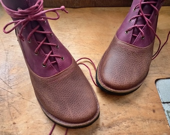 UK 4, SPINDLE Boot #4350. Barefoot comfort footwear. Leather lace up, handmade boot from a woodland studio.