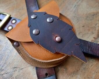ACORN Pouch #4322, Leather belt bag, bush craft / dog walkers. Handmade in England.
