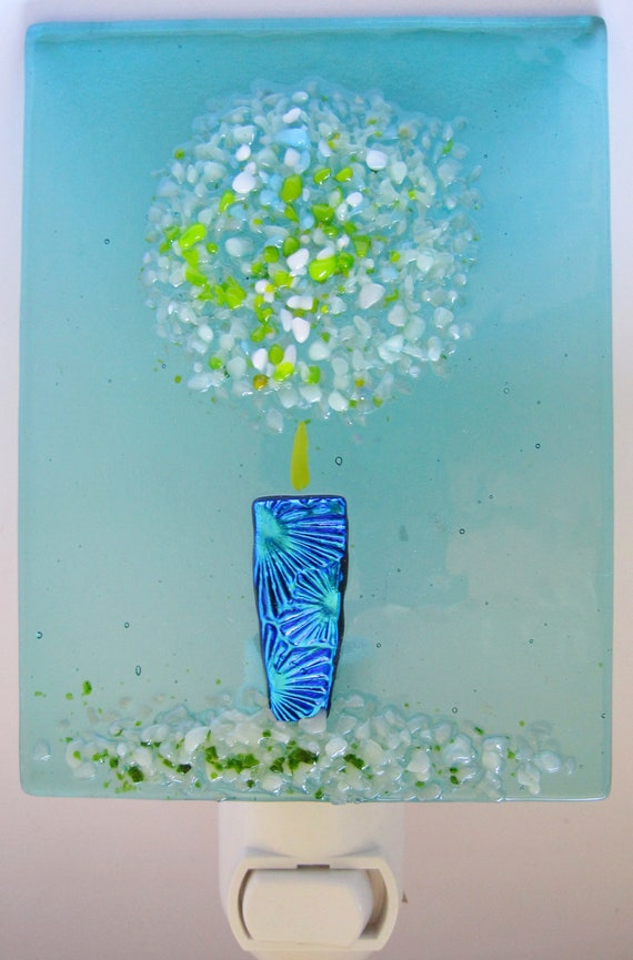 Frit Bouquet Fused Glass Night Light by Dana Boyko