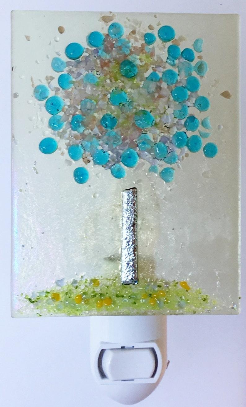 Handmade Fused Glass Night Light Blossoming Nite Lite Etsy