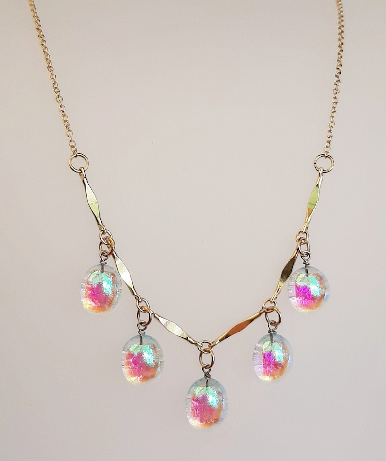bridal jewelry Fused glass necklace /& 14 karat gold filled necklace modern colorful statement piece wedding present dichroic glass