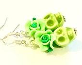 Cute Sugar Skull Earrings Day of the Dead Green Ceramic Sugar Skull Jewelry Gift