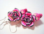 Sugar Skull Earrings Pink and Black Day of the Dead Roses and Sugar Skulls