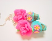 Bright Pink and Turquoise Day of the Dead Roses and Sugar Skull Earrings