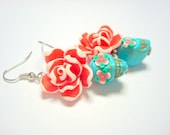 Turquoise, Red, and White Day of the Dead Roses Sugar Skull Earrings