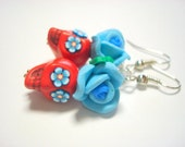 Sugar Skull Earrings Red and Turquoise Day of the Dead Rose and Skull Earrings