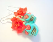 Sugar Skull Earrings Turquoise and Red Heart Eyes Day of the Dead Roses and Skulls