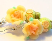 Sugar Skull Earrings Citrus Burst Orange and Lime Day of the Dead Roses and Sugar Skulls