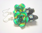 Green, Yellow, Blue, and Black Day of the Dead Roses and Sugar Skull Earrings Medium