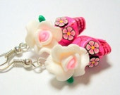 Sugar Skull Earrings Bright Pink and White Day of the Dead Roses and Skulls