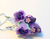 Purples Day of the Dead Roses and Sugar Skull Earrings