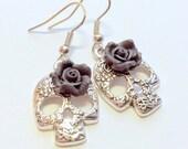 Silver Sugar Skull Earrings Black Rose Day of the Dead Earrings