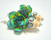 Blue Green Yellow White Day of the Dead Roses and Sugar Skull Earrings