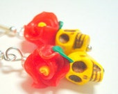 Sugar Skull and Rose Earrings Tiny Bright Yellow and Red Day of the Dead Earrings