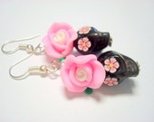Sugar Skull Earrings Black and Pink Day of the Dead Rose and Skull Earrings
