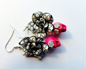 Day of the Dead Rose and Sugar Skull Earrings Pink Black White Polkadot