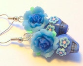 Sugar Skull Earrings Small Day of the Dead Blue Rose Earrings