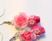 Day of the Dead Rose Sugar Skull Earrings Pretty Pinks Small Skull Earrings