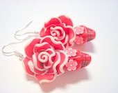 Sugar Skull Earrings All Red Day of the Dead Roses and Skull Beaded Earrings