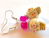 Sugar Skull Earrings Cherry Blossom Pink Skull Drop Earrings
