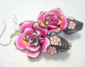 Sugar Skull Earrings Black, Pink, and Yellow Day of the Dead Roses and Sugar Skulls