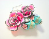 Sugar Skull Earrings Pink Roses, Black Heart and Flower Eyes Turquoise Day of the Dead Jewelry