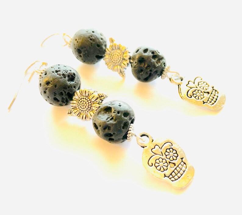 Silver Sugar Skull Earrings Black Day of the Dead Earrings Skull Aromatherapy Earrings