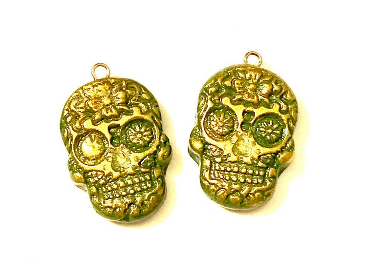 Sugar Skull Beads Handmade Polymer Clay Beads Green Gold Skull Charms Silver Eye Pins Attached