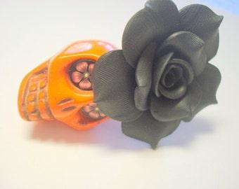 Gigantic Orange Sugar Skull and Black Rose Day of the Dead Pendant or Ornament